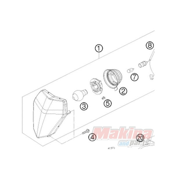 78014001000 headlight ktm exc  u0026 39 08