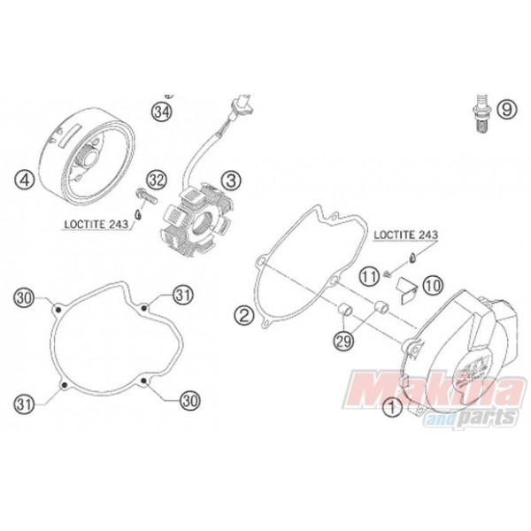 59030002000 ignition cover ktm exc
