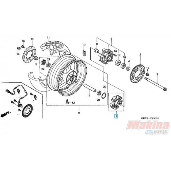 06410mbb000 rear wheel damper set honda xl