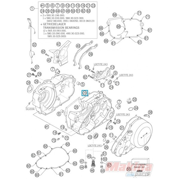 58530039400 engine case gasket ktm lc4 640 98 07 rh makinaparts com KTM RFS KTM Lithium Battery