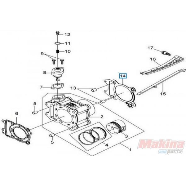 12191HMA000 Cylinder Base Gasket Sym Citycom-300 GTS-300 EFI