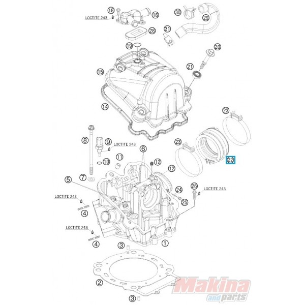 75036044000 intake boot ktm duke 690 smc 690