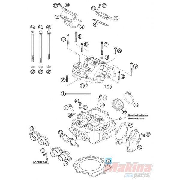 2007 Maybach 62 Head Gasket: 59030036000 Cylinder Head Gasket KTM EXC-520-525 SX-450