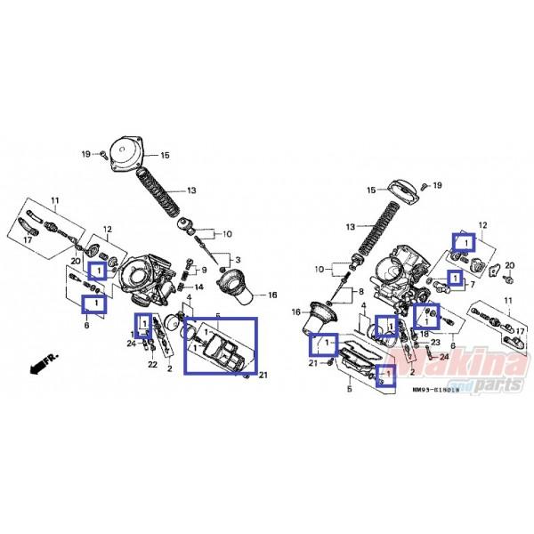 16010mr1691 gasket set carburetor honda xl