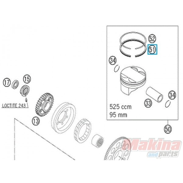58030631000 oil scraper ring ktm exc