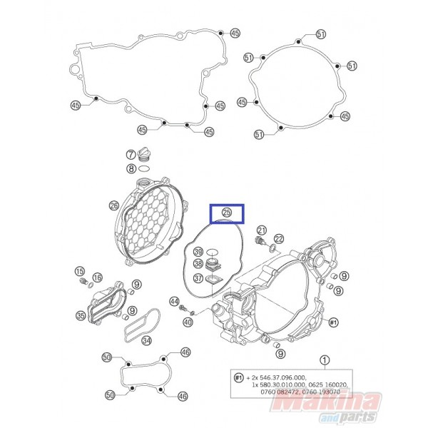 55130027000 clutch cover outside gasket ktm exc