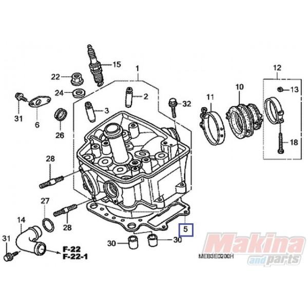 2007 Maybach 62 Head Gasket: 12251MEY671 Cylinder Head Gasket Honda CRF-450R '07-'08