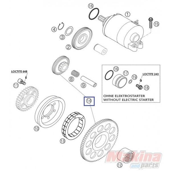 59040020244 free wheel   reduction gear ktm exc