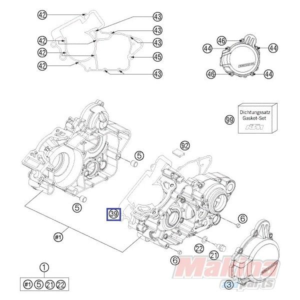 50330039000 engine case gasket ktm exc