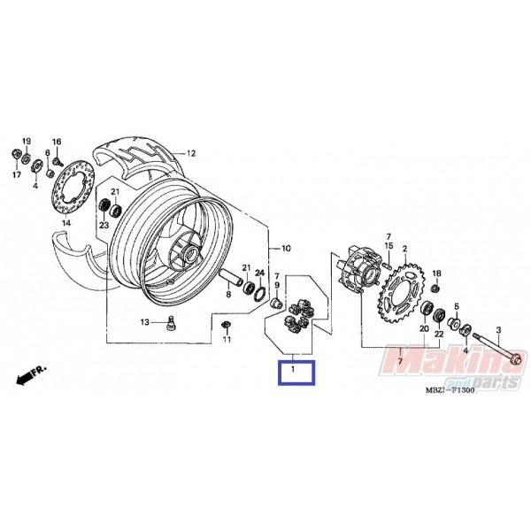 06410malg00 Rear Wheel Damper Honda Cb 900 Hornet